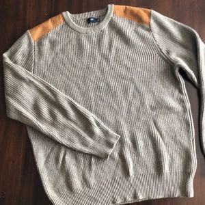 J CREW Sweater Faux Suede Shoulder Patch.